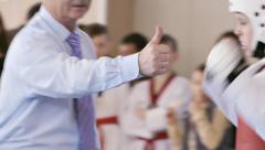 Taekwondo Girls Fight Knockdown Slow Motion - stock footage
