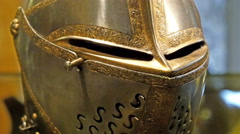 Stock Video Footage of Closer look of the metal mask of the knight