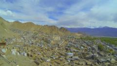 Lech view from the lower terrace of the palace Namgyal Stock Footage