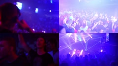MONTAGE (4 VIDEOS) - party disco with dancing people and DJ Stock Footage