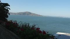 Angel Island State Park view from Alcatraz Island, San Francisco Stock Footage