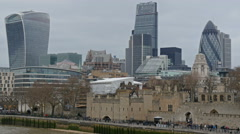 The view of the tall buildings in the city of London Stock Footage