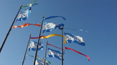 Pier 39 flags waving in the wind, San Francisco Stock Footage