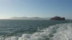 Panoramic view of Alcatraz Island and Golden Gate Bridge, San Francisco Stock Footage