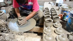 Mechanic pottery made earthenware at Koh Kret Island in Nonthaburi Thailand. Stock Footage