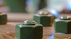 Green screws on a hydraulic cylidner Stock Footage