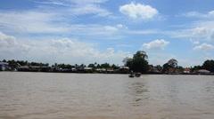 Boat Transportation on Chao Phraya River at Nonthaburi Thailand Stock Footage