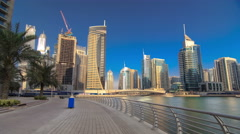 UAE Modern buildings in Dubai Marina. In the city of artificial channel Stock Footage