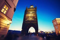 Tower of Charles Bridge in Prague, Czech Republic Stock Photos