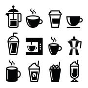 Coffee drinks, coffee makers icons set Stock Illustration