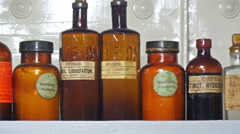 Different kinds of poisons and chemicals on the bottles Stock Footage