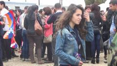 Crowd standing and walking people Stock Footage