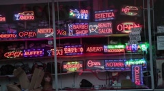 Shop of illuminated neon signs Stock Footage