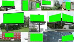 4K montage (compilation) - various billboards in the city - green screen Stock Footage