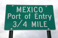 Closeup of  Mexico Port of Entry Sign  Stock Photos