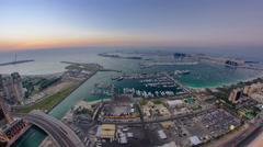 Dubai Marina Panorama Day to Night transition timelapse fisheye Stock Footage