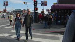 Trolley on Jefferson Street in San Francisco Stock Footage