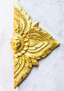 Golden flower stucco - stock photo