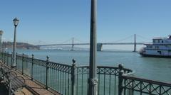 Oakland Bay Bridge seen from Pier 7 in San Francisco Stock Footage