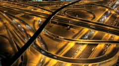Dubai Sheikh Zayed Road Intersection illuminated UAE Stock Footage