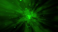 Abstract green flying particles Stock Footage