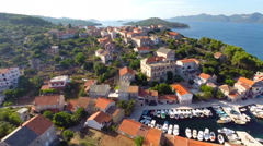 Aerial footage of harbour and village in Croatia Stock Footage