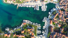 Aerial footage of harbour in Croatia Stock Footage