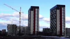 Construction of new high-rise building in city - stock footage