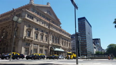 Argentina Buenos Aires Teatro Colon traffic 4K Stock Footage