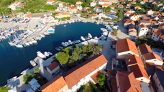 Aerial footage of small harbour Stock Footage