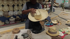Hispanic Man At Work, Latino Hat Maker on Street 5 - stock footage