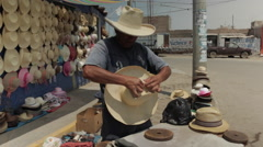 Hispanic Man At Work, Latino Hat Maker on Street 4 - stock footage