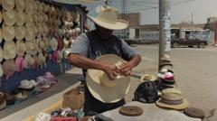 Hispanic Man At Work, Latino Hat Maker on Street 4 Stock Footage