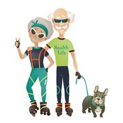 Cartoon active old couple, man and woman doing sport - stock illustration