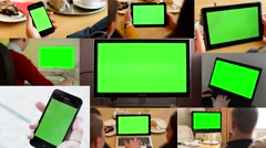 4K MONTAGE (9 VIDEOS) - technology devices green screen - people working Stock Footage
