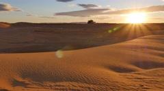Desert sunset: last rays of light on sand dunes Stock Footage
