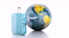 Suitcase, airplane and world globe. Travel concept Stock Footage