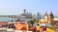 Historic center of Cartagena, Colombia with the Caribbean Sea visible on two sid - stock footage