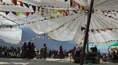 A dance group in a big tent,Sumur,Ladakh,India Stock Footage