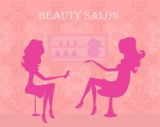 Young lady silhouette doing manicure in beauty salon Stock Illustration