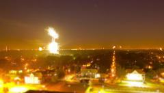 Fireworks Bursting Over Night Time City - stock footage
