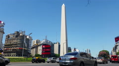 Stock Video Footage of Argentina Buenos Aires traffic at rush hour at Obelisk 4K