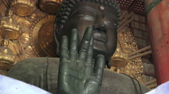 Close Up Daibutsu Grand Buddha Statue Todaiji Temple Japan Stock Footage