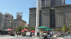 Union Square in the afternoon in San Francisco Stock Footage