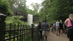 People Enjoy Falls at the Park Stock Footage