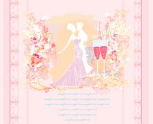 Ballroom wedding couple dancers silhouette Stock Illustration