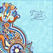 paisley design on decorative floral background - stock illustration