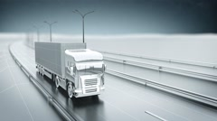 Monochrome cargo truck on a highway. Front view. Looping animation background. Stock Footage