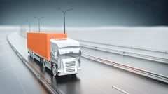 Orange cargo truck on a highway. Front view. Looping animation background. Stock Footage
