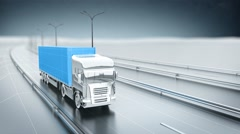 Blue cargo truck on a highway. Front view. Looping animation background. - stock footage